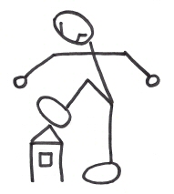 angry stickman stepping on a house